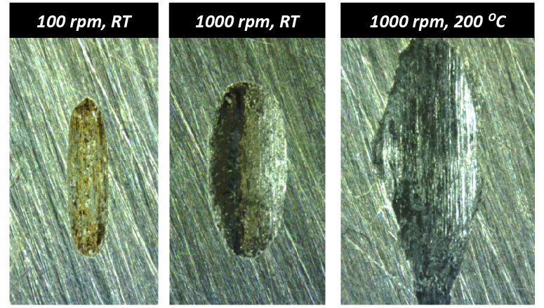 Fretting wear tracks at various conditions under the optical microscope